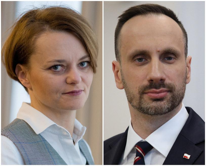 Jadwiga Emilewicz (L, fot. Marek Wiśniewski) i Janusz Kowalski (Solidarna Polska, fot. Andrzej Hulimka) /Agencja FORUM