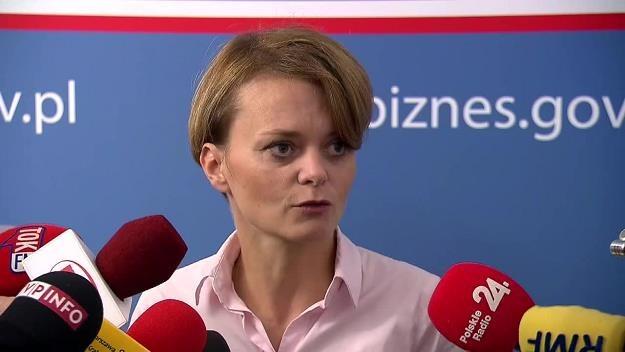 Jadwiga Emilewicz, minister przedsiębiorczości. Źródło: TVN24 / Dostawca: x-news /