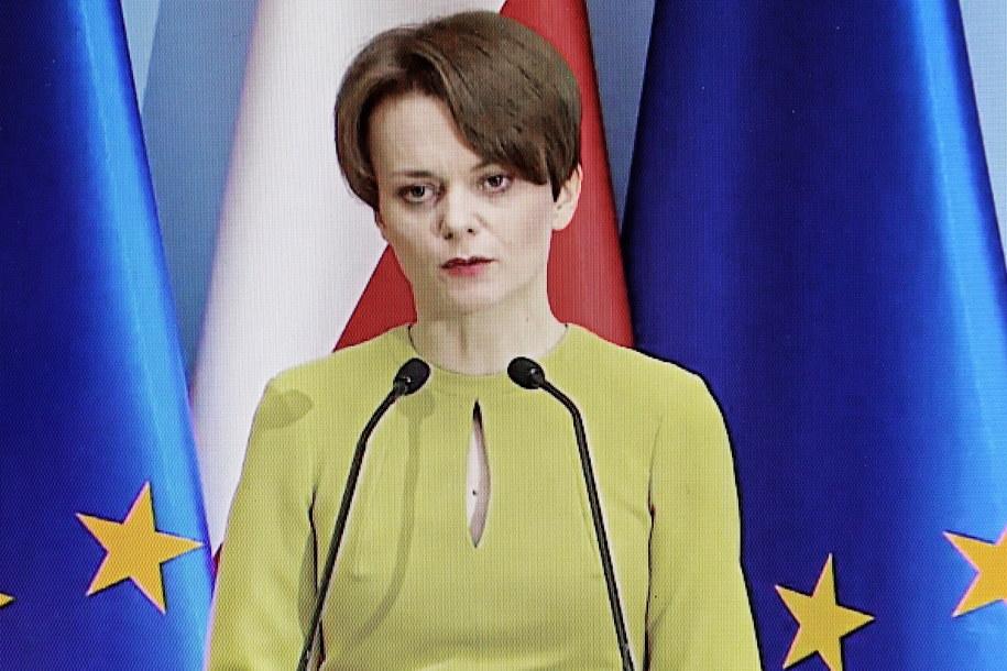 Jadwiga Emilewicz podczas konferencji prasowej /Rafał Guz /PAP