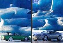Jaguar XKR oraz Aston Martin Vanquish w lodowej krainie /INTERIA.PL