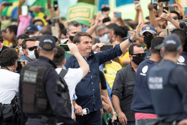 Jair Bolsonaro podczas demonstracji swoich zwolenników /Joedson Alves /PAP/EPA