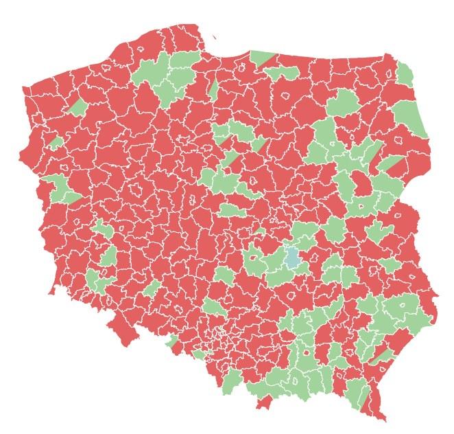 Jak oceniarz rząd PiS? Wyniki w powiatach /INTERIA.PL