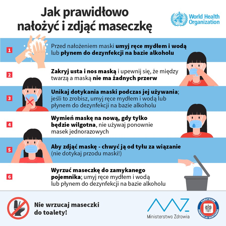 Jak poprawnie założyć i zdjąć maseczkę /Ministerstwo Zdrowia /Materiały prasowe