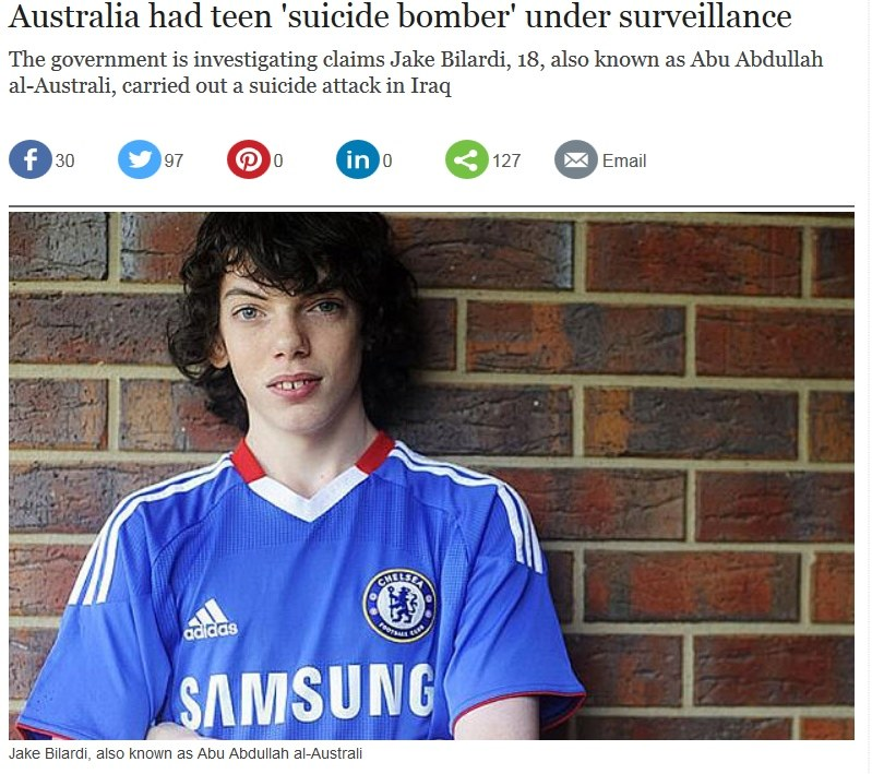 Jake Bilardi - nastoletni zamachowiec z Australii. Fot: Telegraph.co.uk /