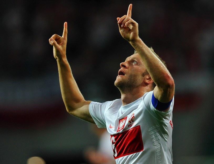 Jakub Błaszczykowski po strzeleniu gola w meczu z Mołdawią. /AFP