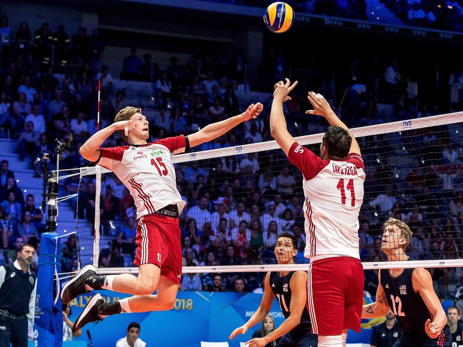 Jakub Kochanowski i Fabian Drzyzga podczas meczu ze Stanami Zjednoczonymi / Maciej Kulczyński    /PAP