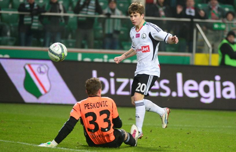 Jakub Kosecki strzelił dwa gole w meczu z Ruchem Chorzów /Fot. Bartłomiej Zborowski /PAP