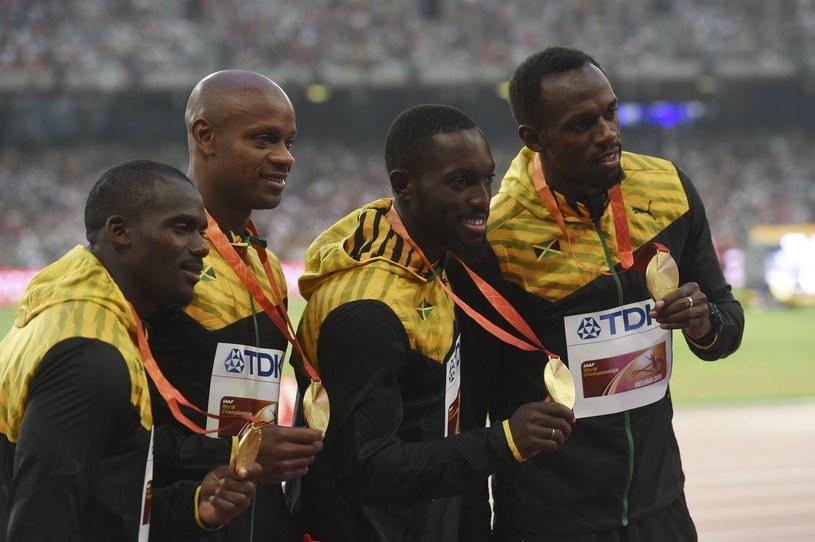 Jamajska sztafeta 4x100 m. Od lewej: Nesta Carter, Asafa Powell, Nickel Ashmeade i Usain Bolt /AFP