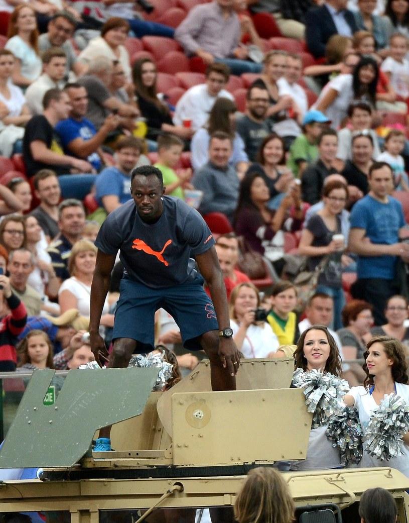Jamajski sprinter Usain Bolt na Stadionie Narodowym w Warszawie /Bartłomiej Zborowski /PAP
