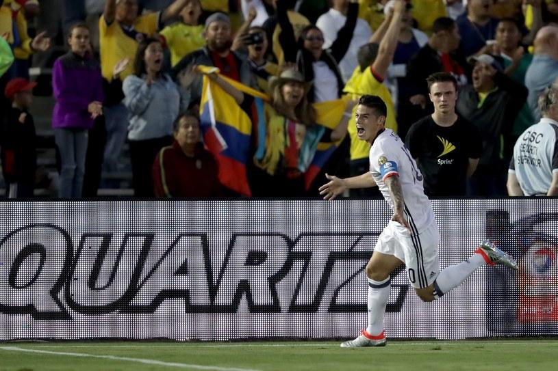 James Rodriguez cieszy się z gola dla Kolumbii /AFP