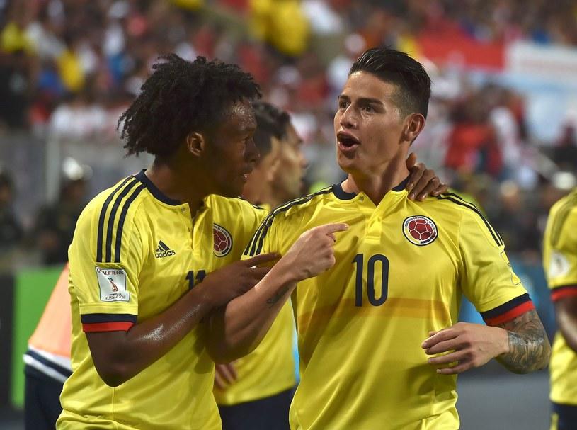 James Rodriguez (P) i Juan Cuadrado (P) z reprezentacji Kolumbii /AFP