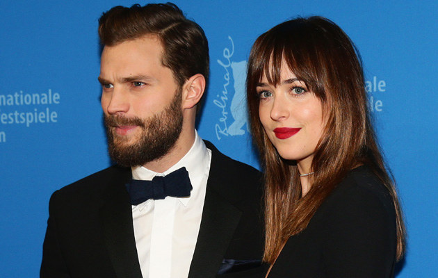 "Jamie Dornan i Dakota Johnson podczas promocji ""50 twarzy Greya"" /Vittorio Zunino Celotto /Getty Images"