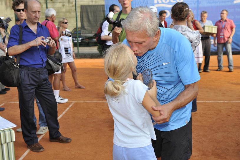 Jan Englert z córką /Niemiec /AKPA
