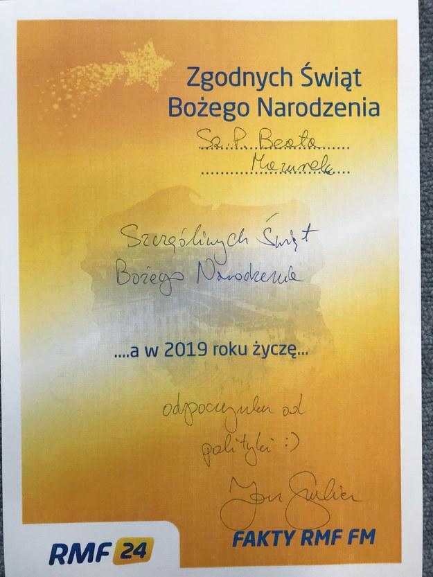 Jan Grabiec złożył życzenia Beacie Mazurek /RMF FM
