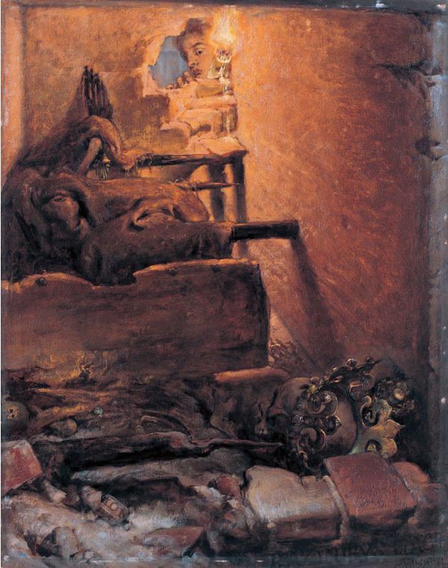 """Jan Matejko """"Wnętrze grobu Kazimierza Wielkiego"""" /Wikimedia"""