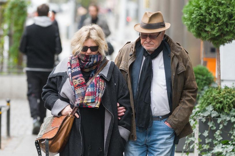Jan Nowicki z żoną /Zawadzki /Reporter