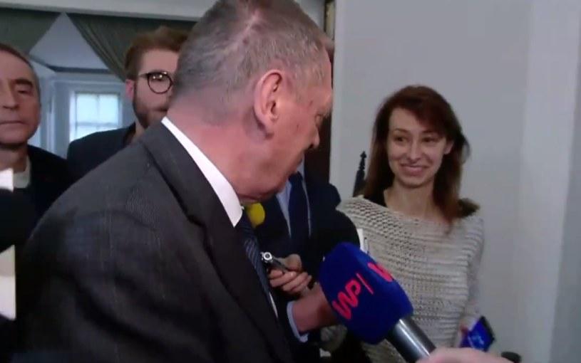 Jan Szyszko i urodziwa dziennikarka /TVN 24 /