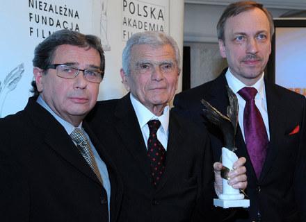 Janusz Gajos, Janusz Morgenstern - laureat Orła 2008 za osiągnięcia życia i Bogdan Zdrojewski /MWMedia