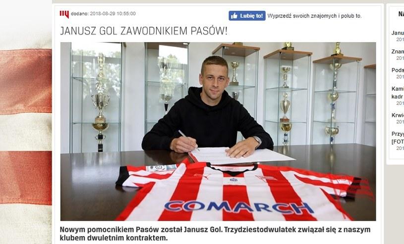 Janusz Gol podpisał kontrakt z Cracovią. /
