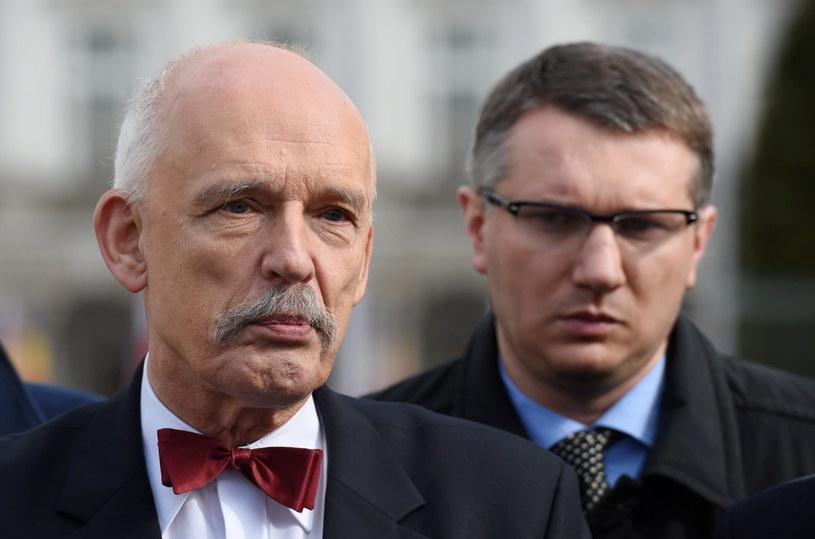Janusz Korwin-Mikke i Przemysław Wipler /Radek Pietruszka /PAP