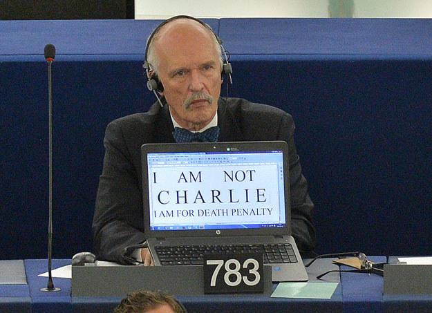Janusz Korwin-Mikke w Parlamencie Europejskim /AFP