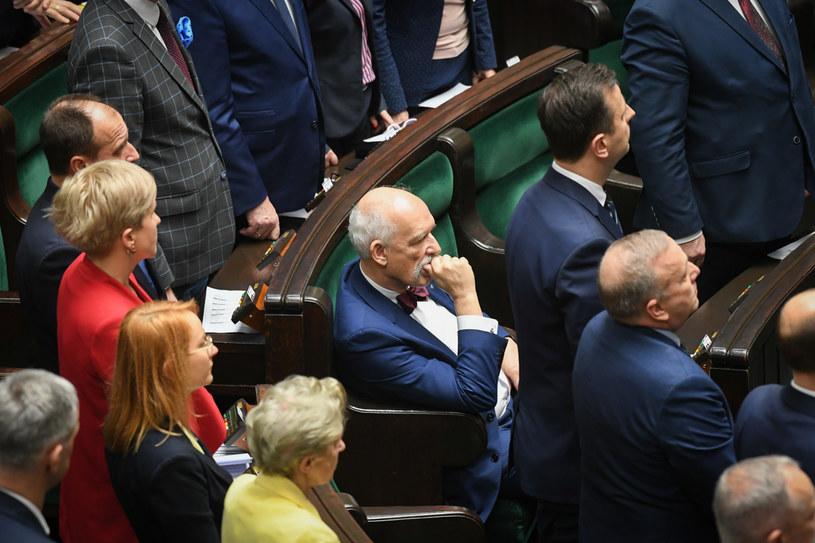 Janusz Korwin-Mikke w Sejmie /Jacek Domiński /Reporter