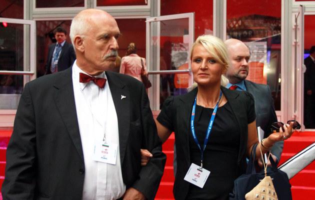 Janusz Korwin-Mikke z córką Korynną /Grzegorz Mamot /PAP