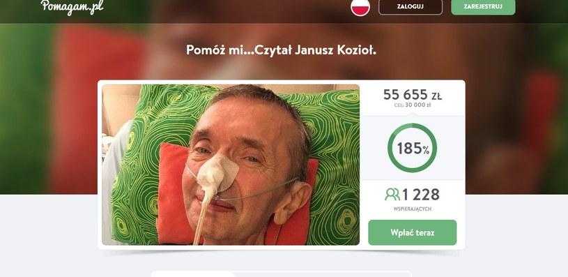 Janusz Kozioł prosi o pomoc (Screen ze strony: pomagam.pl) /materiał zewnętrzny