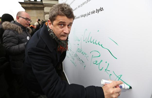 Janusz Palikot podczas wiecu, fot. R. Guz /PAP
