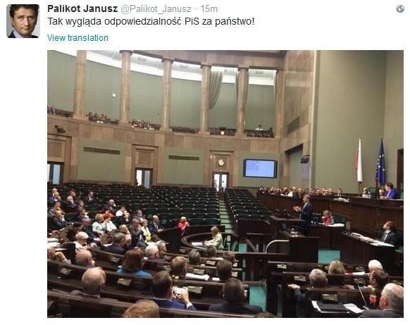 Janusz Palikot umieścił zdjęcie na Twitterze /Twitter
