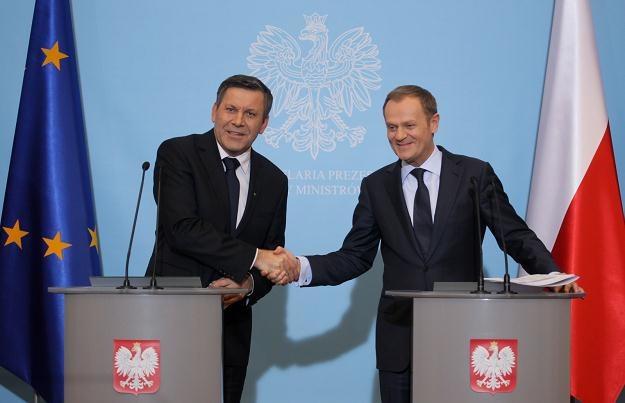 Janusz Piechociński i Donald Tusk, fot. Paweł Supernak /PAP