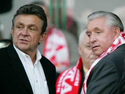 Janusz Wójcik (z lewej) w towarzystwie Andrzeja Leppera /Agencja Przegląd Sportowy