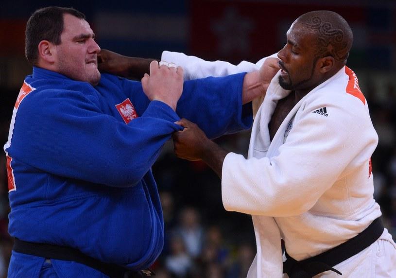 Janusz Wojnarowicz i Teddy Riner na igrzyskach w Londynie /AFP