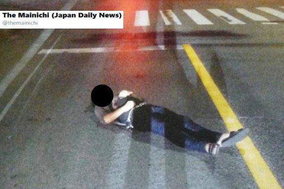 Japończycy lubią... spać na drodze /Twitter