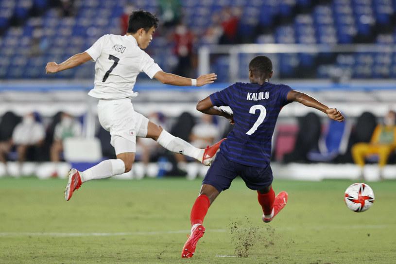 Japończyk Takefusa Kubo (nr 7) tym strzałem otworzył wynik spotkania meczu z Francją /East News /East News