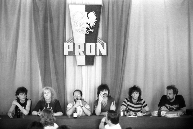 """Jarocin 1986 - konferencja prasowa zespołu """"KAT"""" /Krzysztof Wójcik /Agencja FORUM"""