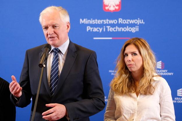Jarosław Gowin i Anna Kornecka /Andrzej  Grygiel /PAP