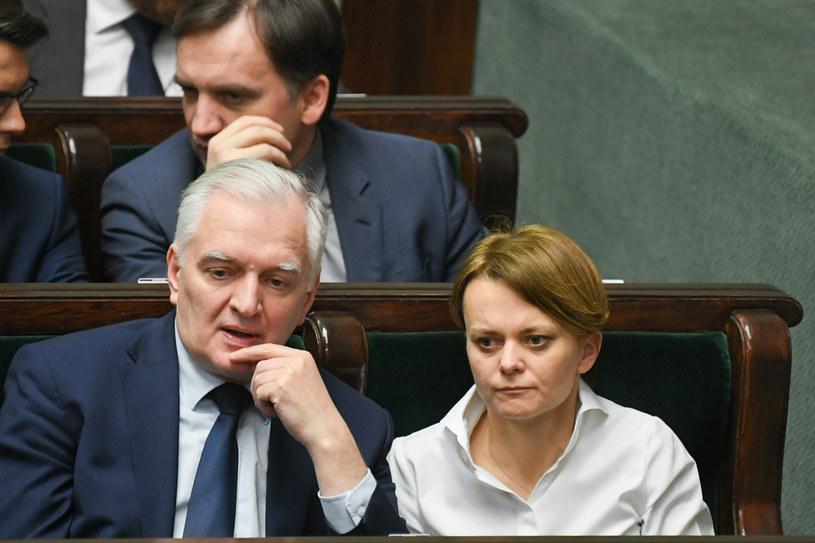 Jarosław Gowin i Jadwiga Emilewicz w Sejmie /Jacek Domiński /Reporter