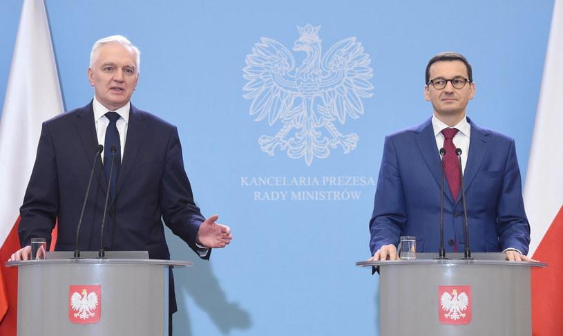 Jarosław Gowin i Mateusz Morawiecki /Radek Pietruszka /PAP