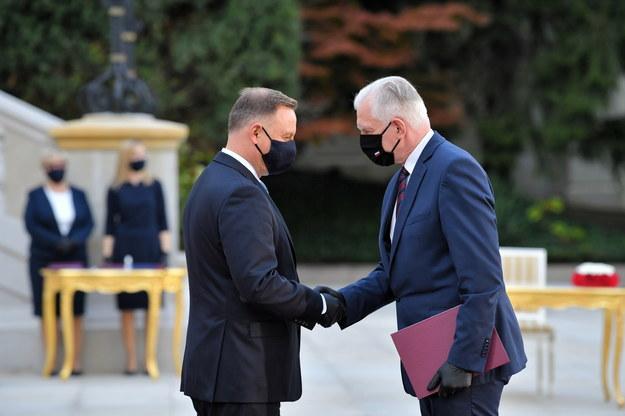 Jarosław Gowin odbiera nominację z rąk prezydenta Dudy / Radek Pietruszka   /PAP