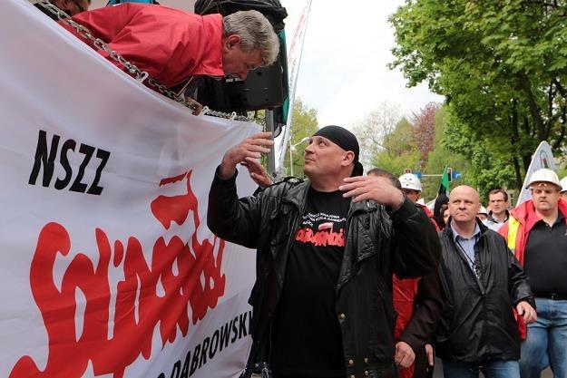 Jarosław Grzesik, szef górniczej Solidarnosci (C). Fot. Dominik Gajda /Reporter