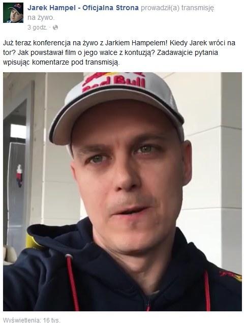 Jarosław Hampel opowiedział o swojej przyszłości /www.facebook.com/JarekHampel /Internet