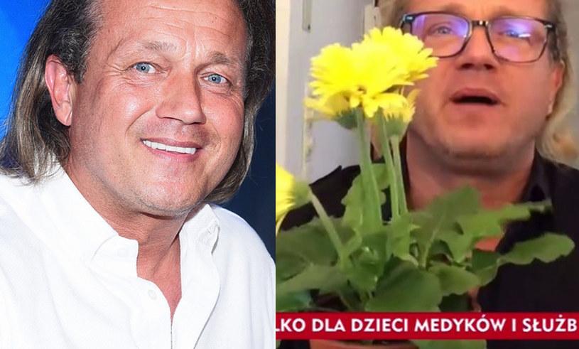 """Jarosław Jakimowicz pokazał kwiaty, które zamierza podarować Joannie Kurskiej /Andras Szilagyi/MWMedia, /www.tvp.info/screen z programu """"#Jedziemy"""" /"""