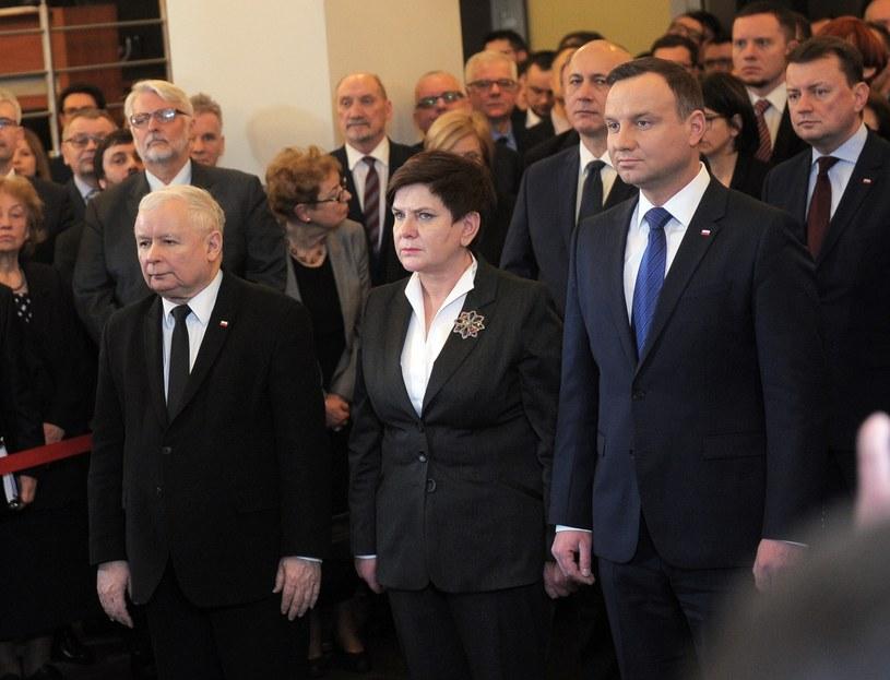 Jarosław Kaczyński, Beata Szydło i Andrzej Duda /Jan Bielecki /East News