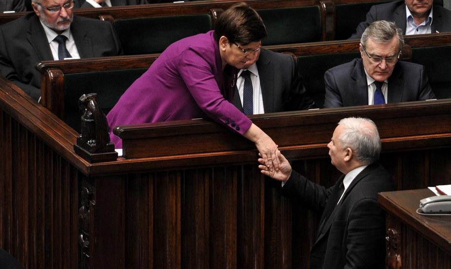 Jarosław Kaczyński i Beata Szydło w Sejmie /Marcin Obara /PAP