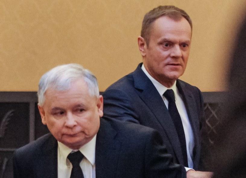 Jarosław Kaczyński i Donald Tusk - mimo że nie kandydowali, to oni byli twarzami kampanii /Tomasz Adamowicz /Agencja FORUM