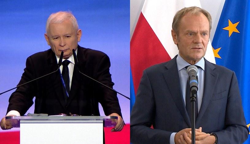 Jarosław Kaczyński i Donald Tusk /Polsat News