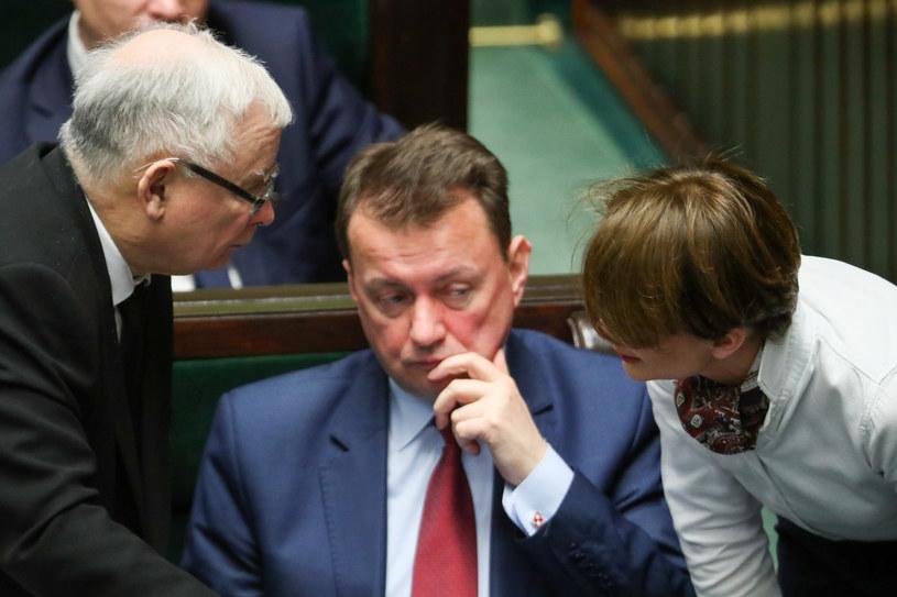 Jarosław Kaczyński i Jadwiga Emilewicz w Sejmie /Andrzej Iwańczuk /Reporter