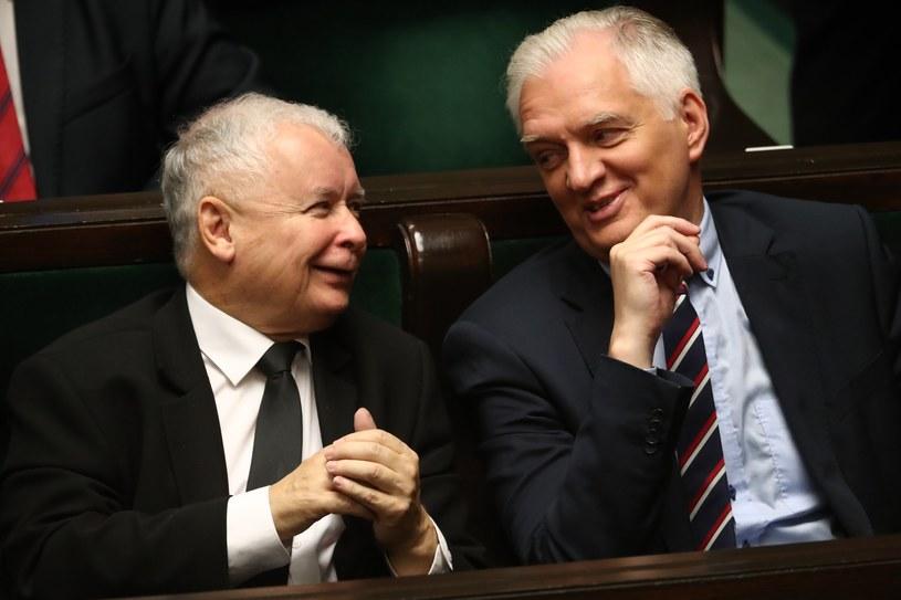 Jarosław Kaczyński i Jarosław Gowin w Sejmie /Andrzej Iwańczuk /Reporter