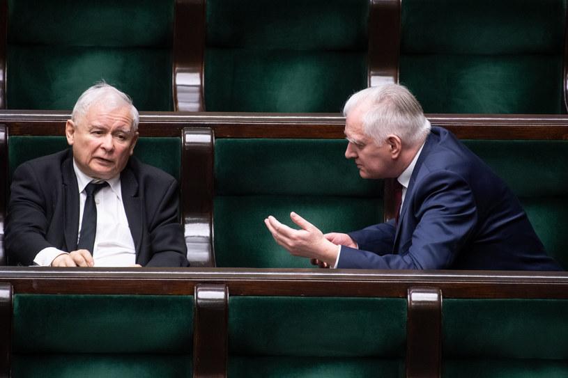 Jarosław Kaczyński i Jarosław Gowin w Sejmie /Jacek Dominski/REPORTER /Reporter